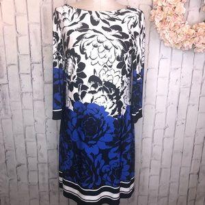 Eliza J blue white floral print shift dress. Sz 12